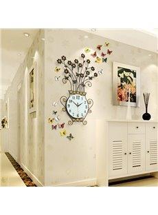 Handmade Iron 9.4 Inches Diameter Beautiful Flower Shape Mute Wall Clock