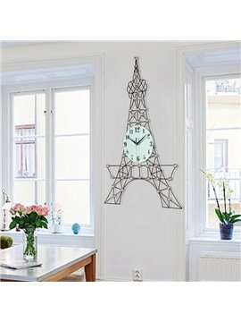 Iron European Style Eiffel Tower Shape Battery Mute Wall Clock