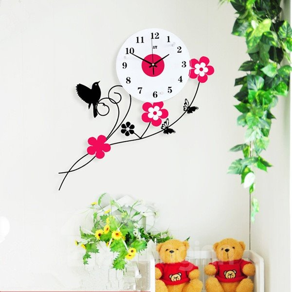 Country Style Delicate Iron Bird Standing on Flower Branch Design Mute MDF Home Wall Clock