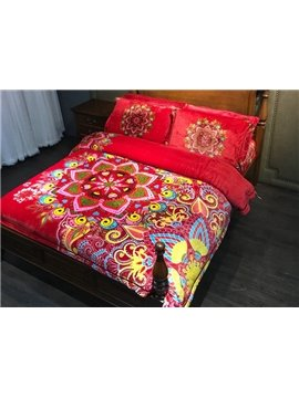 Gorgeous Boho Style 4-Piece Flannel Duvet Cover Sets