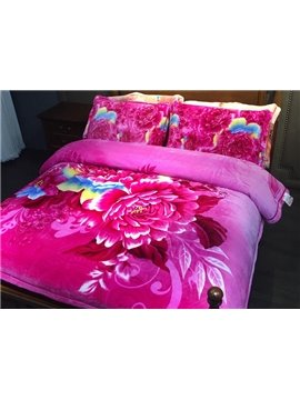 Adorable Pink Peony Print 4-Piece Flannel Duvet Cover Sets