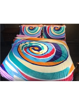 Sweet Lollipop Print 4-Piece Flannel Duvet Cover Sets