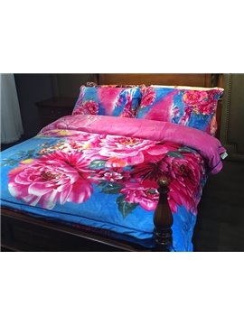 Bright Red Peony Print 4-Piece Flannel Duvet Cover Sets