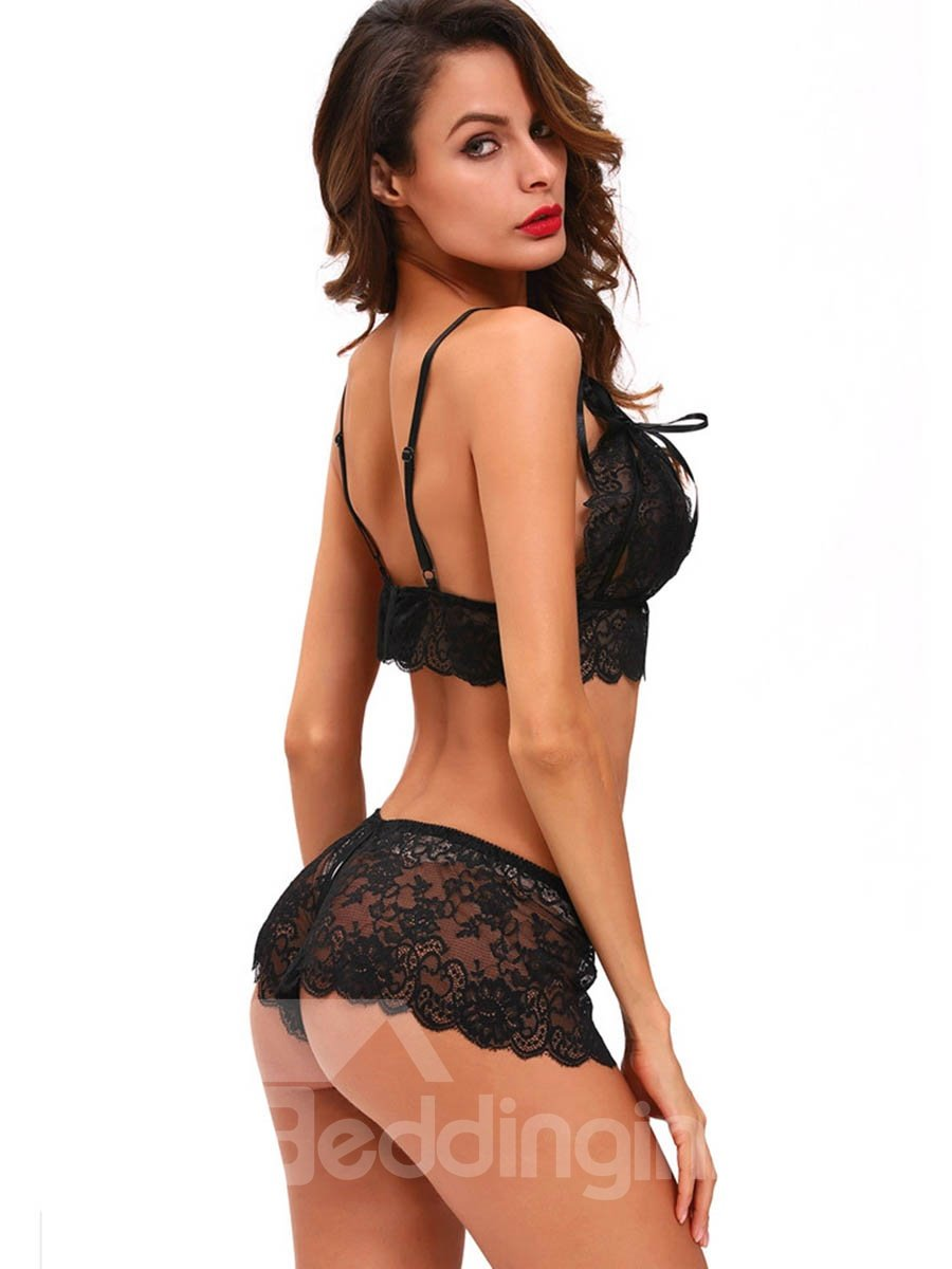 Lace Embroidered High Grade Single Bra With Hollowed Thong Chemises