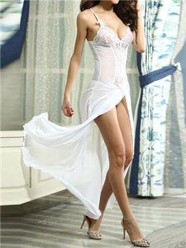 Elegant And Sexy Long Shirt Design Charming White Lace Chemises