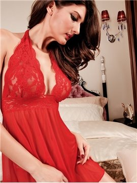 Bright Red Color With Unique Sexy Lace-Up Harness Soft Chemises
