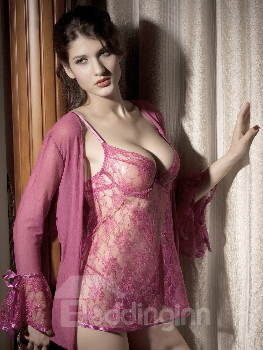 Tempt Lace Hollow Style Attractive Sexy Pink Design 3