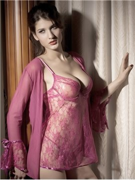 Tempt Lace Hollow Style Attractive Sexy Pink Design 3-Pairs Pajamas Chemises