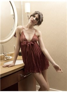 Bow Lace-Up Folds Style Design Charming Red Color Sexy Pajamas Chemises