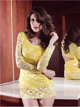Fresh Yellow Hollow Sexy Design Short Skirt Style Lace Pierced Bodydoll Chemises