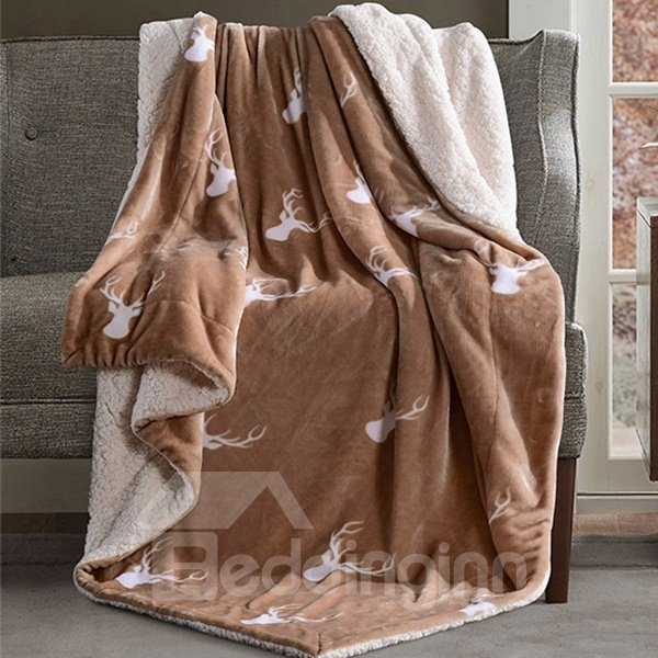 Popular Reindeer Print Camel Soft Flannel Blanket