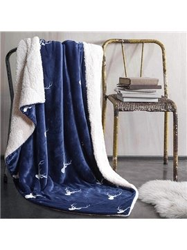 Wonderful Reindeer Print Navy Blue Flannel Blanket