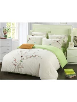 Pastoral Style Birds on the Tree Print 4-Piece Duvet Cover Sets