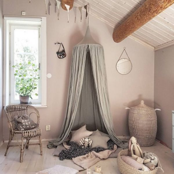 Signature Cotton Fabric Nordic Style Home Decor Kids Gray Round Tent