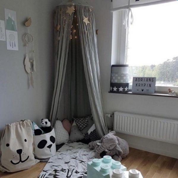71 Signature Cotton Fabric Nordic Style Home Decor Kids Gray Round Canopy