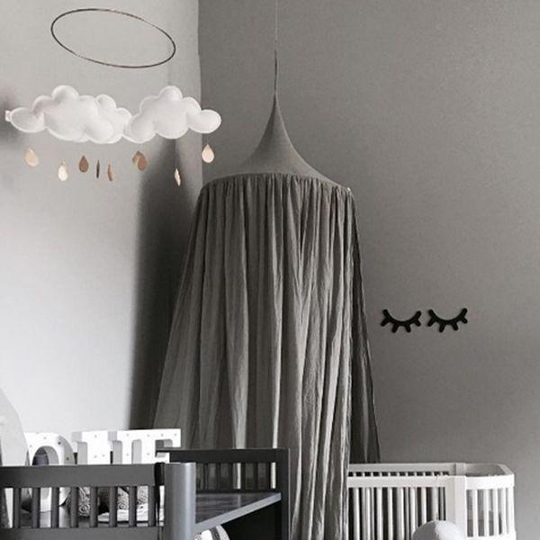 Signature Cotton Fabric Nordic Style Home Decor Kids Gray Round Canopy