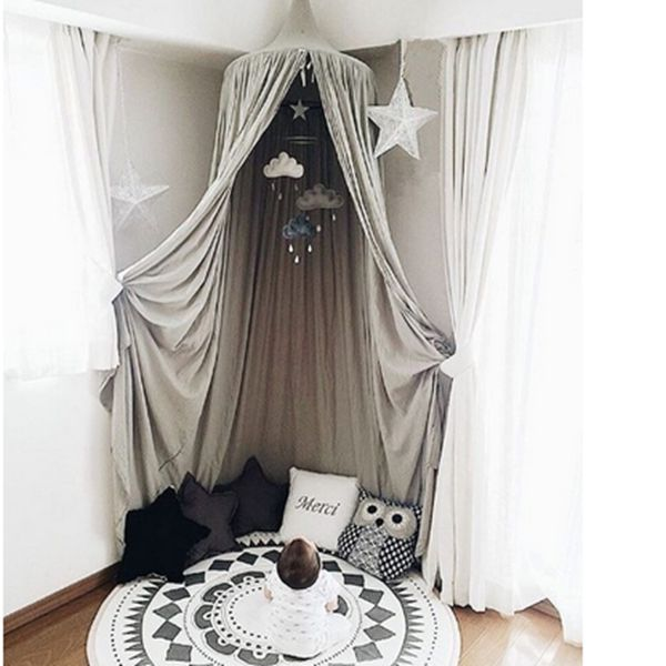 71 signature cotton fabric nordic style home decor kids gray round canopy - Gray Canopy Decoration