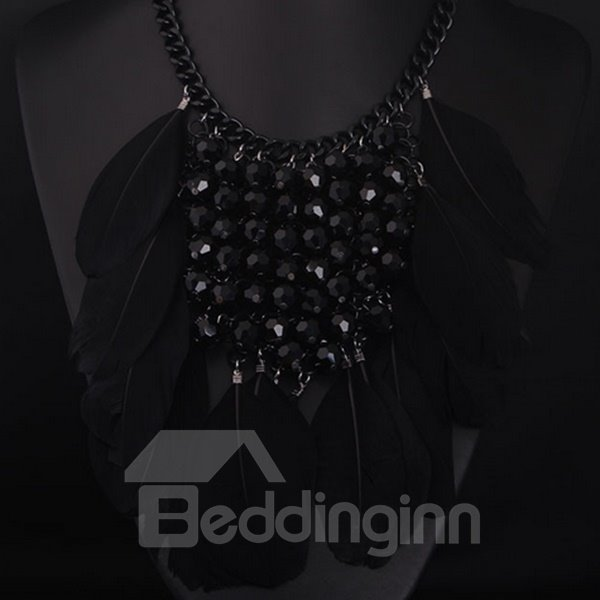 Super Feather Design Three Colors for Choose Alloy Statement Necklace