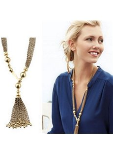 Fantastic Tassels Design Alloy Pendant Necklace