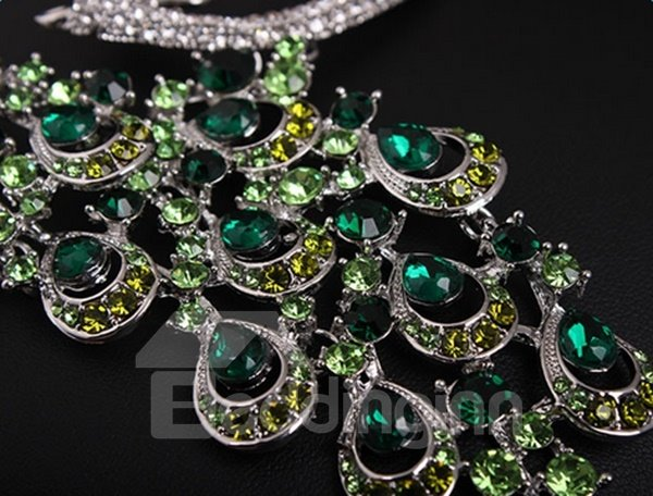Sparking Peacock Design Statement Necklace and Earrings Group