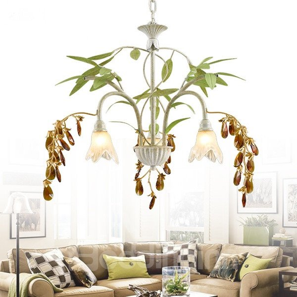 Fancy American Style Iron Frame with Crystal and Leaves Decoration 3 Bulbs Pendant Light