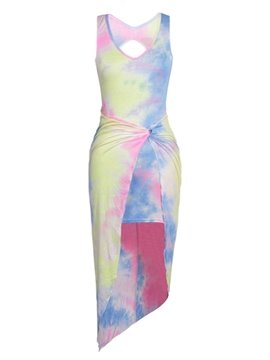 Colorful Sleeveless V Neck Print Design Bodycon Dress