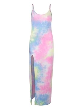 Amazing Strappy Gradient Design Bodycon Maxi Dress
