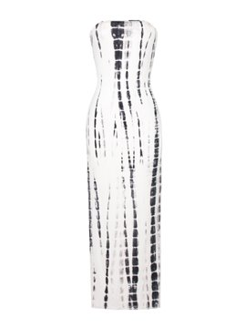 Elegant Strapless Printed White Maxi Dress