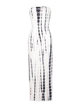 Elegant Strapless Printed White Maxi Dress