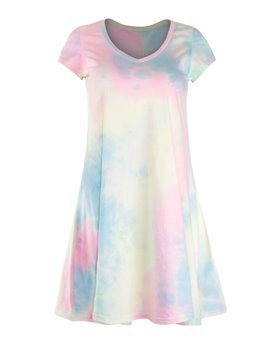 Colorful Short Sleeve Loose Casual Gradient Design Dress