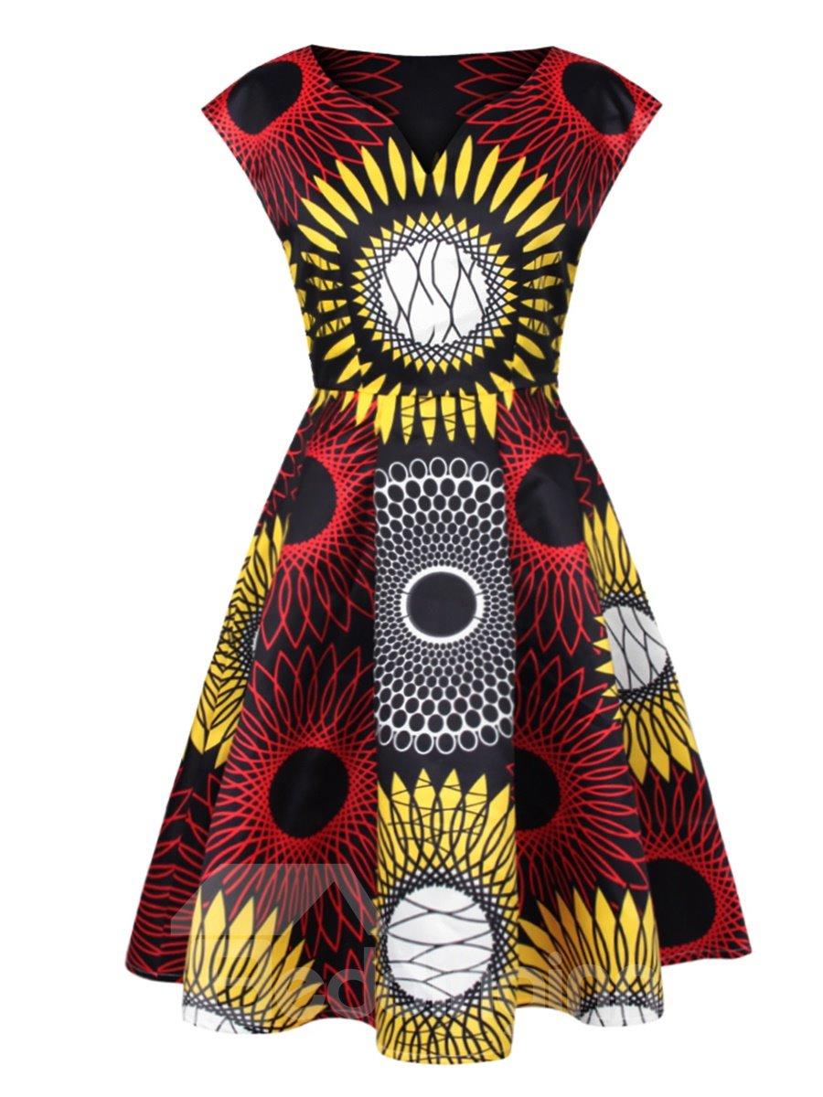 Stunning Sleeveless V Neck Abstract Pattern Dress