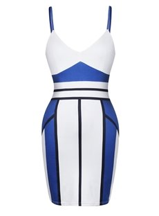 Fantastic Strappy Color Block Bodycon Sexy Dress