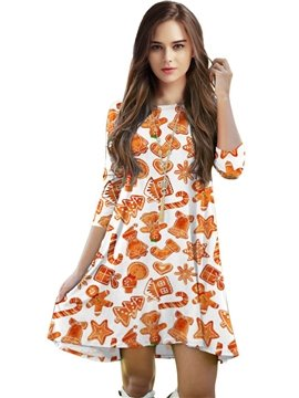 Christmas Style Loose Casual Creative Pattern 3D Painted Dress