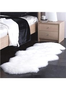 Pure Color Oval Shape 2 Pieces Sheep Wool Splicing Home Warm Area Rug