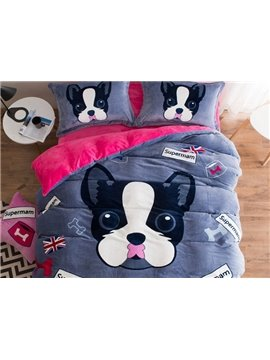 Likable Puppy Print Soft Flannel 4-Piece Duvet Cover Sets