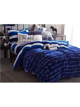 Concise Letter Print Navy 4-Piece Flannel Duvet Cover Sets