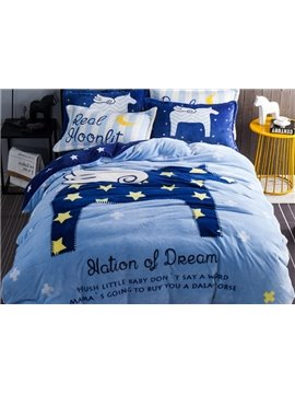 Lovely Star and Horse Print 4-Piece Flannel Duvet Cover Sets