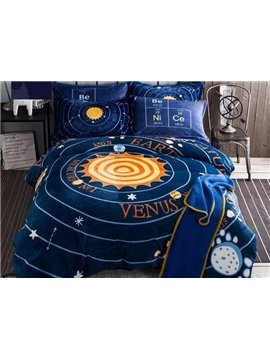 Amazing Solar System Print 4-Piece Flannel Duvet Cover Sets