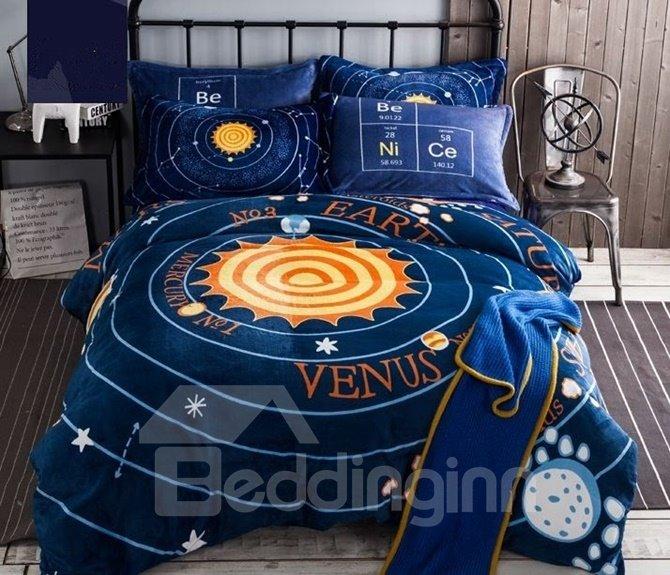amazing solar system print 4 piece flannel duvet cover. Black Bedroom Furniture Sets. Home Design Ideas