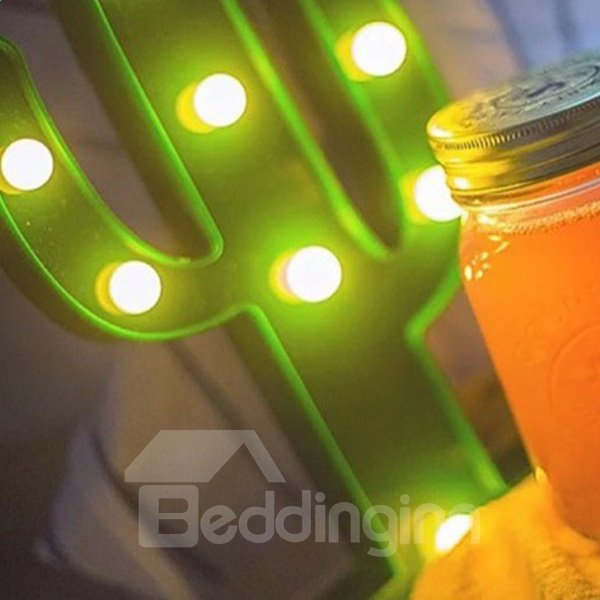 Green Cactus AA-Battery Circle Lighting Decorative LED Lamp