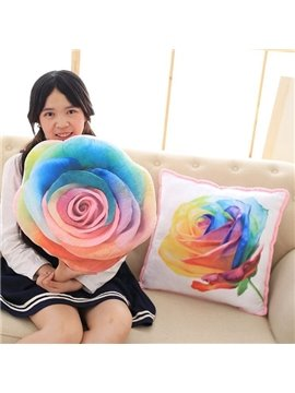 Unique Design Colorful 3D Rose Print Throw Pillow
