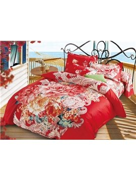 Splendid Peony Print Festive Red Cotton 4-Piece Duvet Cover Sets