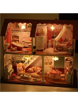 Luxury Miniature DIY Dollhouse with LED Light Birthday or Valentine Gift