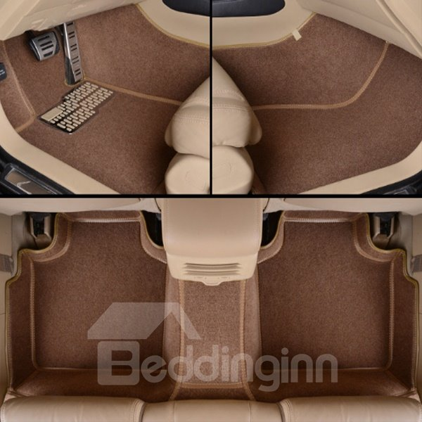 Stylish Brown Unique Edge Design All Surround Custom Fit Car Floor Mats
