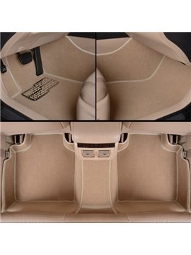 Stylish Beige Comfortable Anti-Dust PVC Leather And Velvet Custom Fit Car Floor Mats