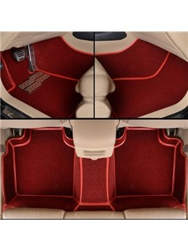 Luxury Red Seam Design Durable PVC And Velvet Material Custom Fit Car Floor Mats