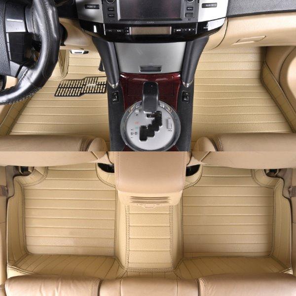 Beige Luxury With Unique All Surround Design Custom Fit PVC Leather Car Floor Mats