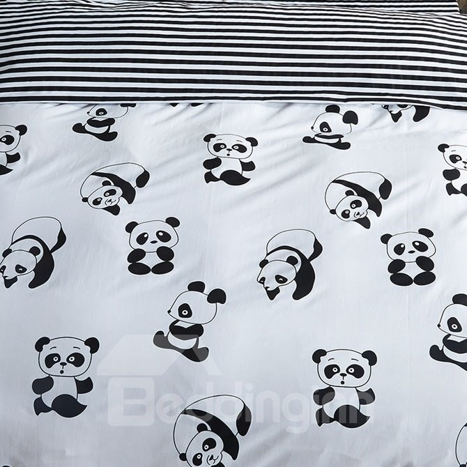 Cartoon Panda Printed Cotton 4-Piece Black and White Bedding Sets/Duvet Covers