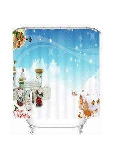 Cute Santa and Warm Village Printing Christmas Theme Bathroom 3D Shower Curtain