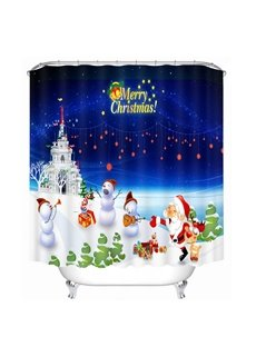 Santa and Snowmen Having a Party Printing Christmas Theme Bathroom 3D Shower Curtain